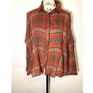Unif Button Down Plaid Cold Shoulder Shirt